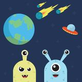 Two cute aliens destroyed Earth. With meteors and ufo racket Stock Image