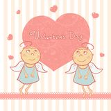 Two cute angel, sweet card for Valentine's Day Royalty Free Stock Photography