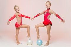 Free Two Cute Artistic Gymnasts Stock Image - 47954501