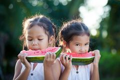 Two cute asian little child girls eating watermelon fresh fruit royalty free stock photography