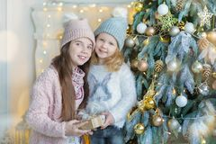 Two cute awesome girls sisters celebrating New Year Christmas close to xmas tree full of toys in stylish dresses with candies Royalty Free Stock Photography