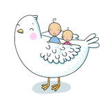 Two cute baby and a bird. Hand drawing isolated objects on white background. Vector illustration. Coloring book Royalty Free Stock Images