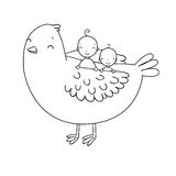 Two cute baby and a bird. Hand drawing isolated objects on white background. Vector illustration. Coloring book Royalty Free Stock Photography