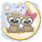 Two Cute Bears on the moon Stock Photography