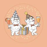 Two cute bears in party hats on rose background. Stock Image