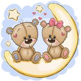 Two Cute Bears is sitting on the moon. Two Cute cartoon Bears is sitting on the moon stock illustration