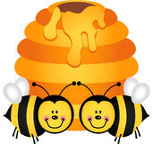 Two cute bees with hive. Scalable vectorial image representing a two cute bees with hive, isolated on white royalty free illustration