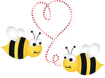 Two cute bees in love Stock Images