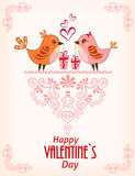 Two cute birds. Card for Valentine day. Royalty Free Stock Image