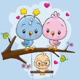 Two cute birds and a chick. Two cute birds on a branch and a chick on the swings stock illustration