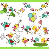 Two cute birds in different positions set digital elements stock illustration