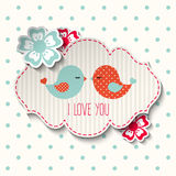 Two cute birds with flowers and text I love you, illustration. In scrapbooking style, vector, eps 10 with transparency Stock Photo