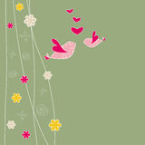 Two cute birds on floral background. Two cute birds on green background royalty free illustration