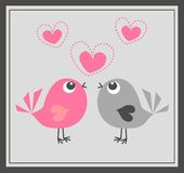 Two cute birds in love royalty free stock image