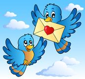Two cute birds with love letter 1. Vector illustration Royalty Free Stock Photos