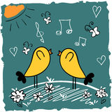 Two cute birds singing Royalty Free Stock Image