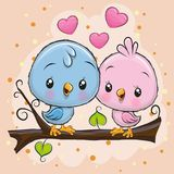 Two Cute Birds is sitting on a branch. Two Cute Cartoon Birds is sitting on a branch stock illustration