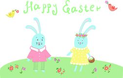 Two Easter bunnies congratulating each other on Easter with colored eggs. Two cute blue Easter bunnies congratulating each other on happy Easter with colored stock illustration