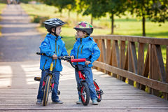 Two cute boys, siblings children, having fun on bikes in the par Royalty Free Stock Photo