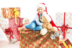 Two cute brothers with presents Stock Photo