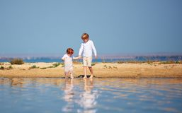 Cute brothers, young kids walking along the lake in shallow water in the summer morning royalty free stock images