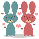 Two bunnies in love Stock Images