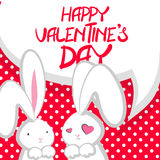Two cute bunny Valentines Day. Vector festive hand drawn illustration. Comic bubble, empty balloon. Two fall in love white cute rabbit with big ears pink nose Stock Images
