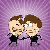 Two cute businessman check hand in conceal of sincerity relation. Illustrated vector is present conceal in relation Stock Image