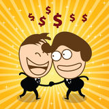 Two cute businessman check hand and joyfull their money. Two businessmen and shaking hands. To congratulate the business together Royalty Free Stock Images