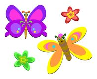 Two Cute Butterflies and Flowers Stock Image