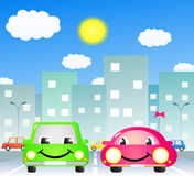 Two cute car in city. Two cute cartoon car in city road vector illustration