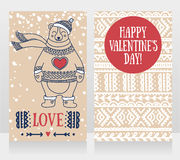 Two cute cards for valentine`s day with smiling bear Royalty Free Stock Photos