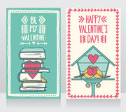 Two cute cards for valentines day, lovely birds couple and books with heart Royalty Free Stock Image