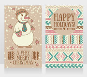 Two cute cards for very merry christmas with smiling snowman Royalty Free Stock Photography