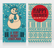Two cute cards for very merry christmas with smiling snowman Stock Photo