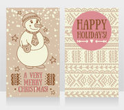 Two cute cards for very merry christmas with smiling snowman Royalty Free Stock Photo