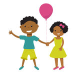 Two cute cartoon african american children with pink balloon holding hands. Older boy and smaller girl, brother  sister, or friend Stock Images