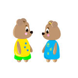 Two cute cartoon Bear Stock Photography