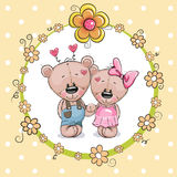 Two cute Cartoon Bears. Greeting card with Two cute Cartoon Teddy Bears vector illustration