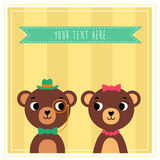 Two cute cartoon bears looking to each other. Hipster little bears on wallpaper background with ribbon for text stock illustration