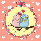 Two cute Cartoon Birds. Greeting card with Two cute Cartoon Birds royalty free illustration