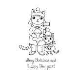 Two cute cartoon cat, tree and a gift. Stock Photos