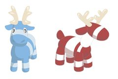 Two cute cartoon deers isolated on white background. Vector illustration of adorable plush holiday animals Stock Image