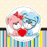 Two cute Cartoon Dogs. Greeting card with Two cute Cartoon Dogs Stock Photos