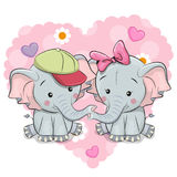 Two Cute Cartoon Elephants. On a background of heart Royalty Free Stock Images
