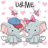 Two Cute Cartoon Elephants and butterflies Royalty Free Stock Photography