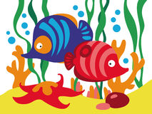 Two cute cartoon fishes under the sea. Royalty Free Stock Photography