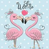 Two Cute Flamingos on a blue background. Two Cute Cartoon Flamingos on a blue background royalty free illustration