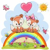 Two Foxes are sitting on the rainbow royalty free illustration