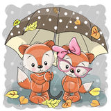 Two cute cartoon foxes with umbrella Royalty Free Stock Photography